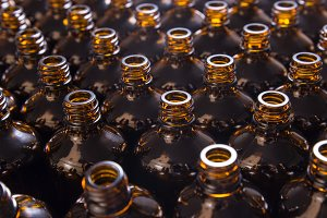Lot of brown glass bottles
