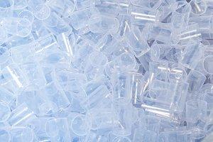 Lot of white plastic transparent cap