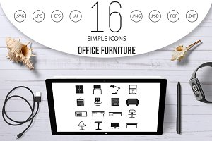 Office furniture icons set, simple