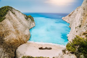 Shipwreck on Navagio beach. Azure