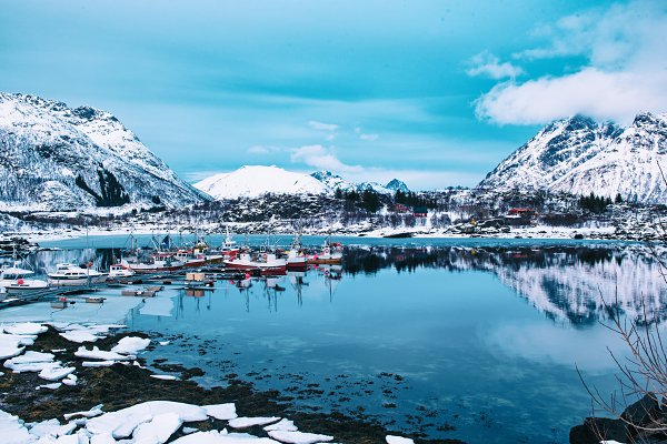 Nature Stock Photos: Nature and travel - Winter Norway lake