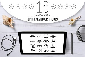 Ophthalmologist tools icons set