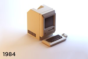 Old vintage isometric computer