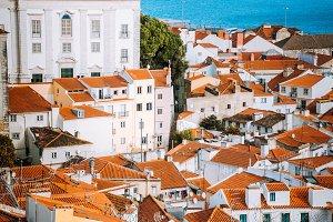 Lisbon, Alfama district with orange