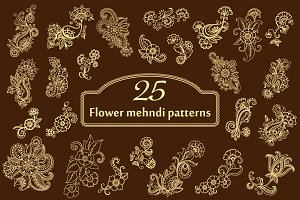 Mehndi flower patterns set