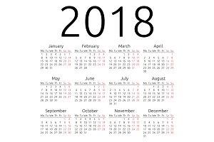 Simple vector calendar 2018