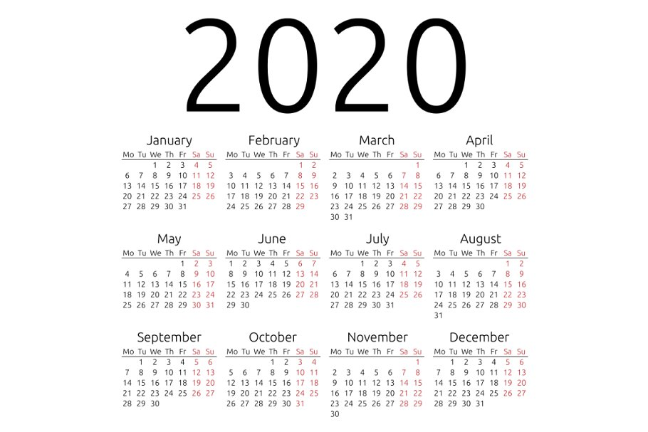 Market Calendar 2020 Simple vector calendar 2020 ~ Illustrations ~ Creative Market