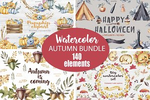 Big Autumn watercolor bundle