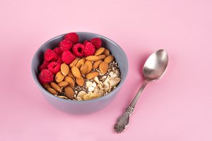 Healthy breakfast bowl: oatmeal with