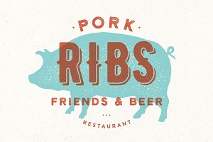 Pig, pork. Poster for restaurant