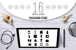 Packaging items icons set, simple