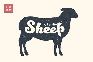 Sheep. Lettering, typography