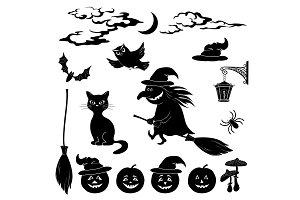 Halloween cartoon, set black
