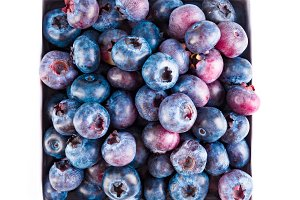 Fresh blueberries and leaves, berry