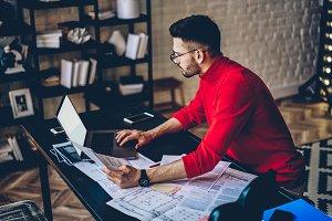 Modern businessman work on laptop