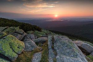 Beautiful sunrise in mountains