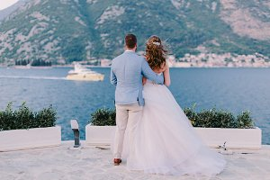 wedding couple travel on yacht
