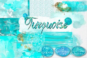 Watercolor Turquoise Elements