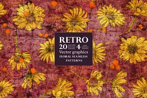 20 Retro patterns with chamomile