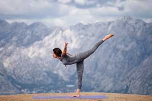 woman yoga pose outside