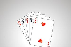 Set poker combination on gray