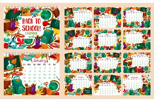 Back to School vector month calendar