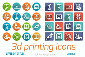 66 3d printing vector icons