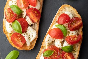 Bruschetta with tomatoes, mozzarella