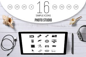 Photo studio icons set, simple style