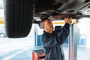 Experienced mechanic working