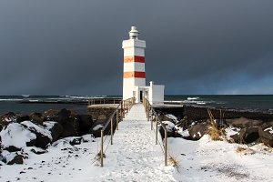 Red & white lighthouse Iceland
