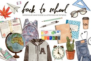 Back to school. Watercolor set.