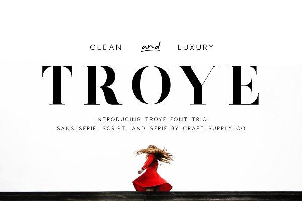 Serif Fonts: Craft Supply Co. - Troye Font Trio - Clean & Luxury