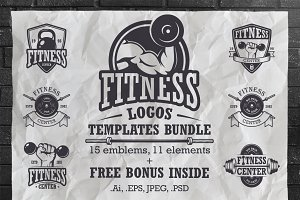 Set of vintage fitness logo template