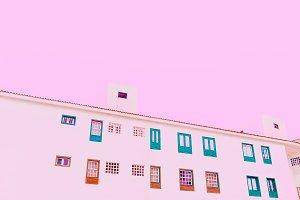 Minimal building pastel color art. M