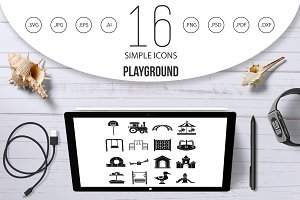 Playground icons set, simple style