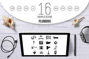 Plumbing icons set, simple style