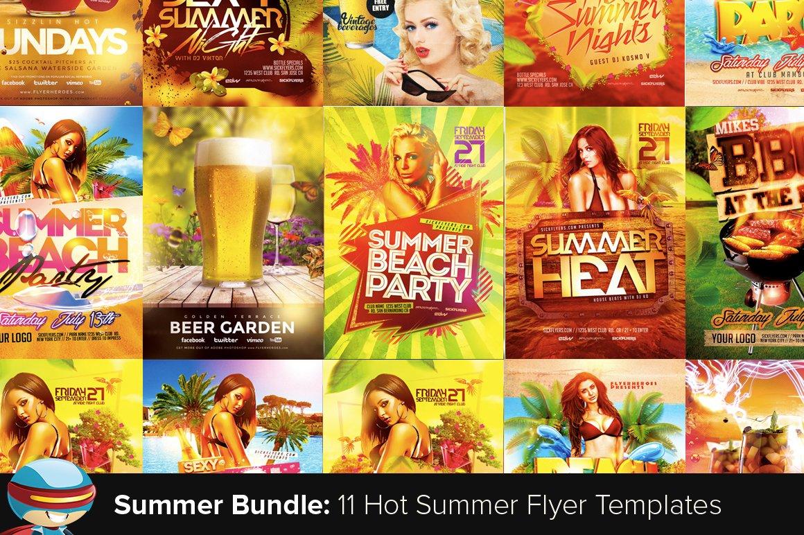 flyerheroes summer flyer bundle flyer templates creative market