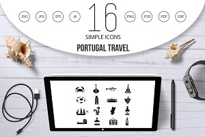 Portugal travel icons set, simple