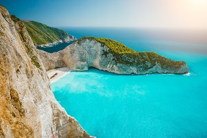 Navagio beach or Shipwreck bay with