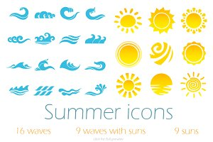 Summer vector icons set