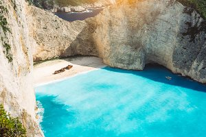 Shipwreck on Navagio beach with