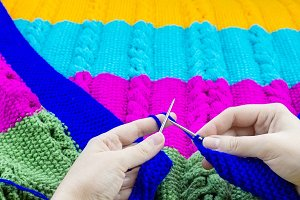 girl blanket knits knitting needles