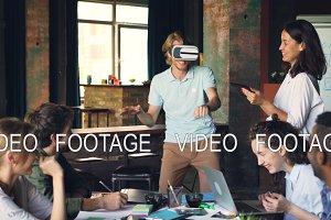Young man wearing virtual reality