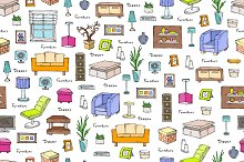 Pattern with hand drawn furniture