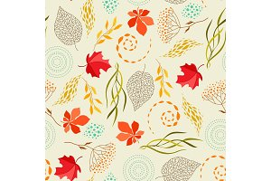 Seamless pattern with falling leaves