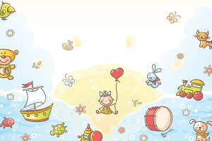 Background with Cartoon Toys