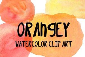 Orangey Watercolor Clip Art