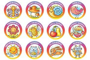 Set of cartoon stickers