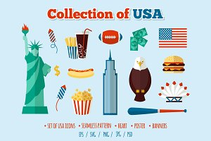 USA collection vector set